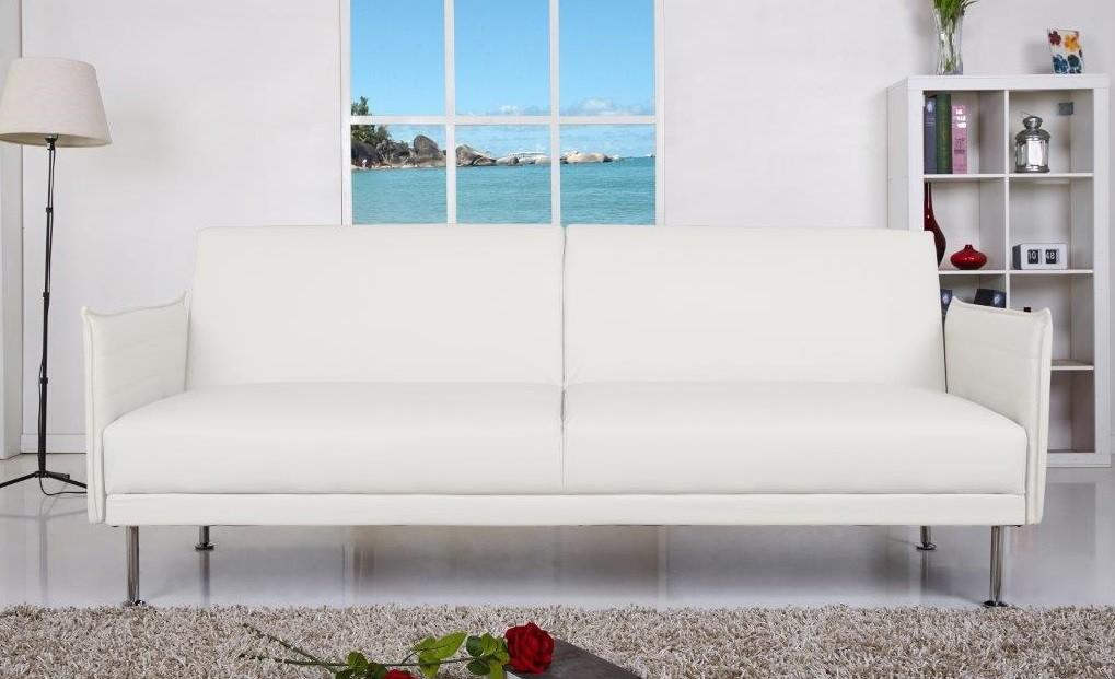 Sofá cama blanco tapizado en piel