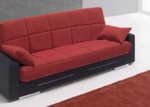 Sofá cama sistema clic-clac rojo